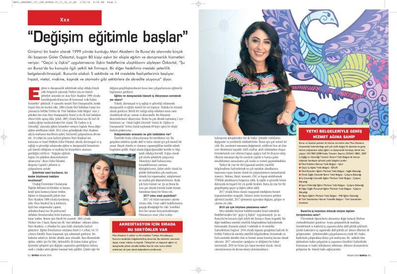 Genel Müdürümüz Sayın Güler ÖZKARTAL 'ın Capital Dergisi 2018 Nisan ayı sayısında yayınlanan röportajı